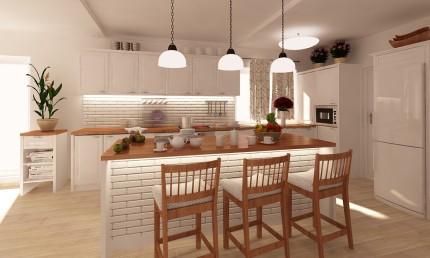 b267c42907ddf Kuchyňa vo vintage štýle s ostrovčekovým pultom / Žabokreky